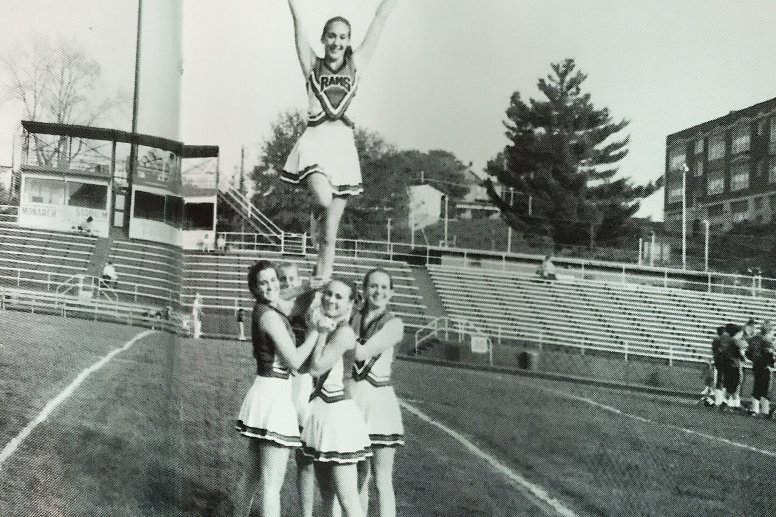Cheerleading photo from my ninth grade yearbook. My pre-yoga days.